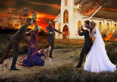 Digital painting of an apocalyptic wedding background